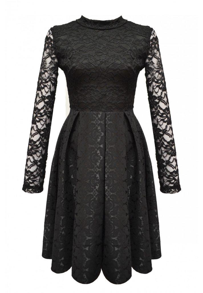 rochie neagra dantela nunta