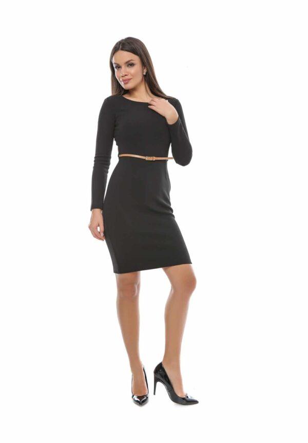 Rochie neagra cu curea Eleganta