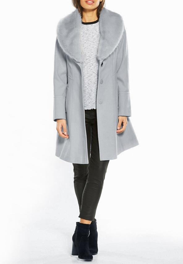 Palton gri model nou femei cu blanita