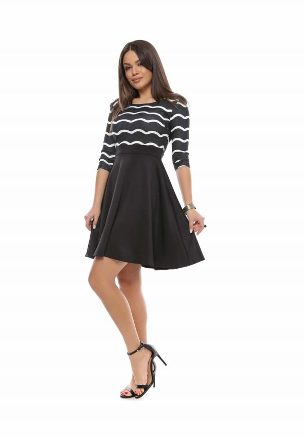 Rochie alb si negru din jerseu clos big mag