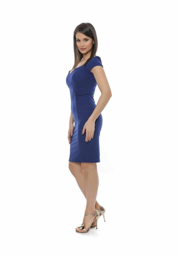 Rochie albastra ocazii cu dcolteu