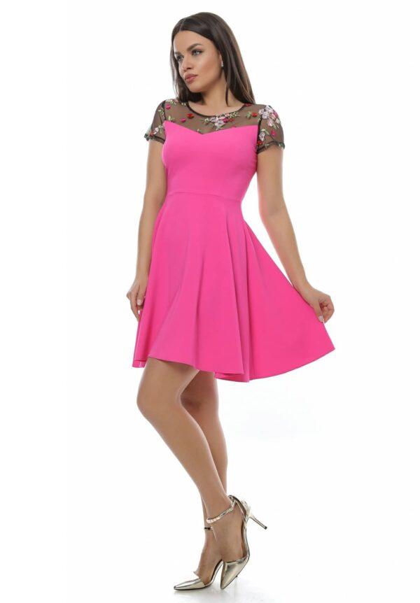 Rochie roz sexy si eleganta din jerseu