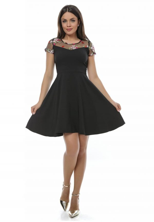 Rochie neagra sexy si eleganta din jerseu
