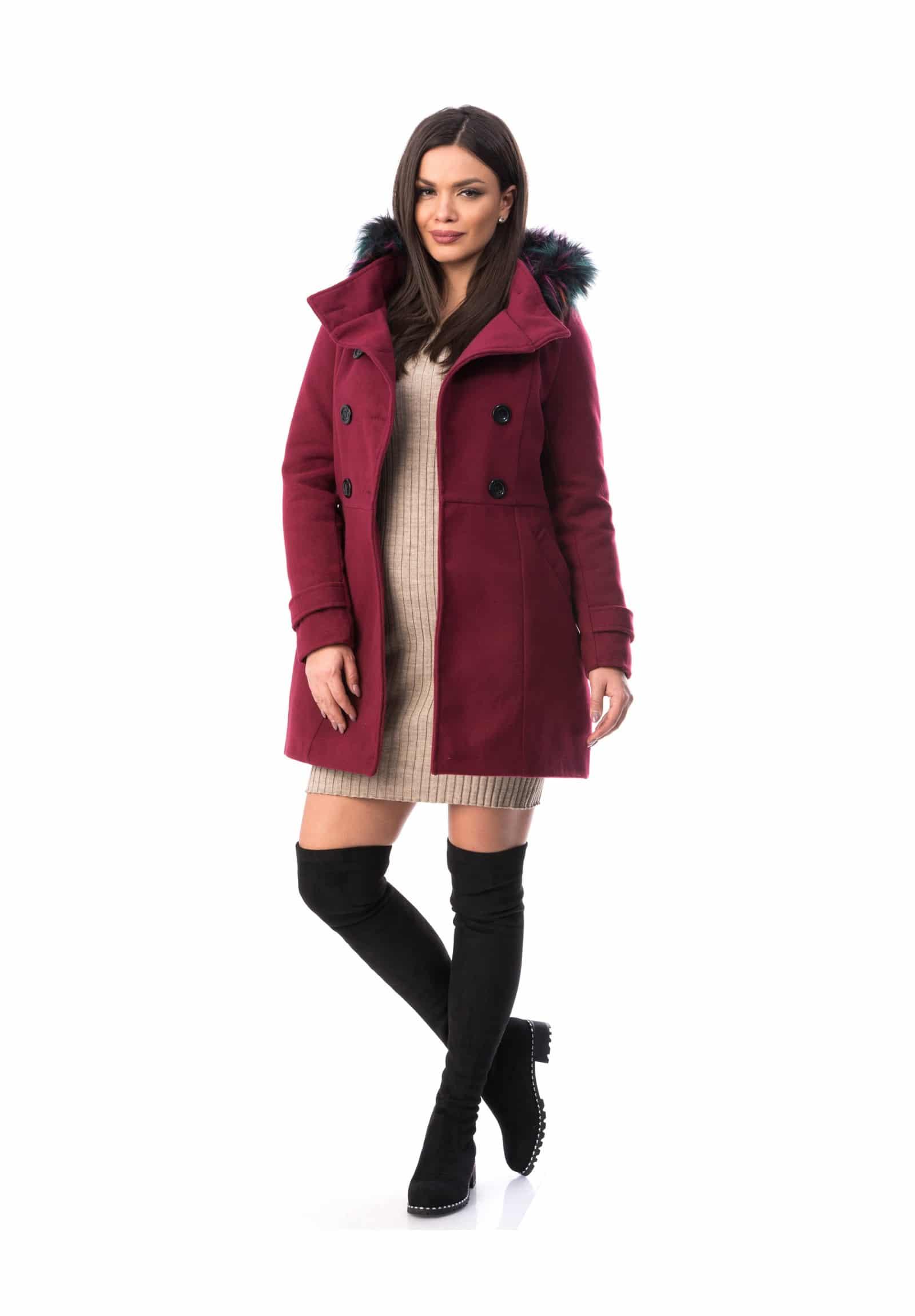 Gros Cu palton gros cu gluga si blanita din stofa en gros, pentru iarna sau
