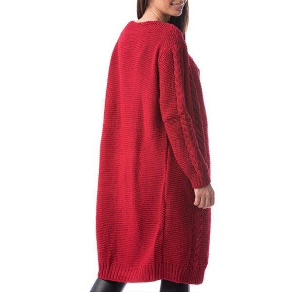 Cardigan lung realizat material tricotat