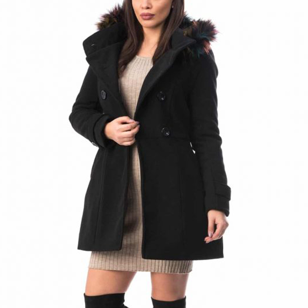 Gros Cu palton gros cu gluga si blanita din stofa, pentru iarna sau toamna