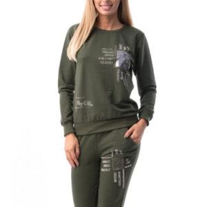 Trening format din bluză și pantalon din bumbac an gro