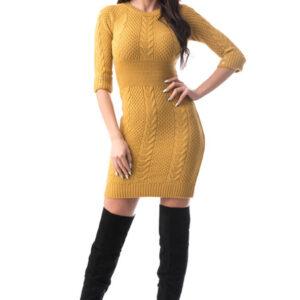 Rochie eleganta tricotata galbena