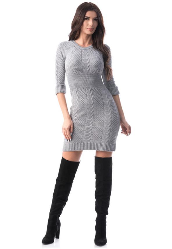 Rochie eleganta tricotata gri
