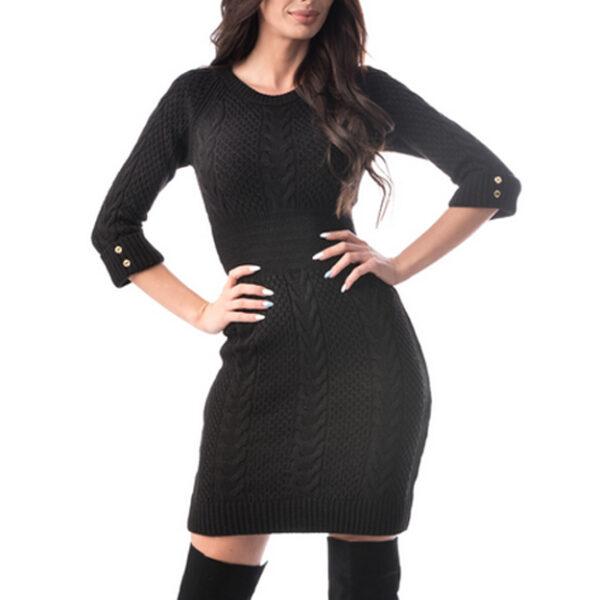 Rochie eleganta tricotata neagra