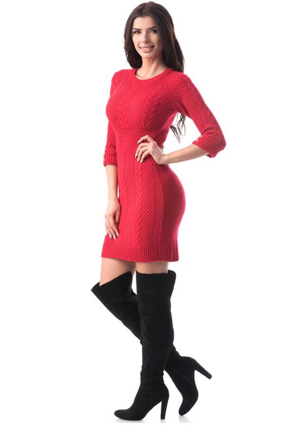 Rochie eleganta tricotata rosie