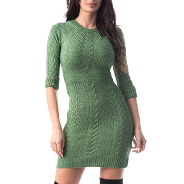 Rochie eleganta tricotata verde