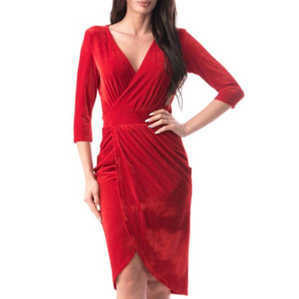 Rochie rosie de catifea