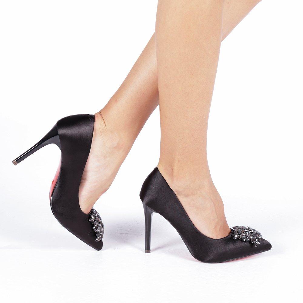 Pantofi negri dama eleganti aspect de matase