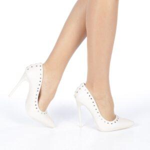 Pantofi stileto albi pentru ocazii