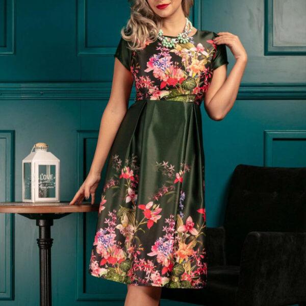Rochie midi de seara cu motive florale