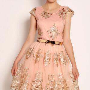 Rochie pudra roz eleganta cu broderie aurie