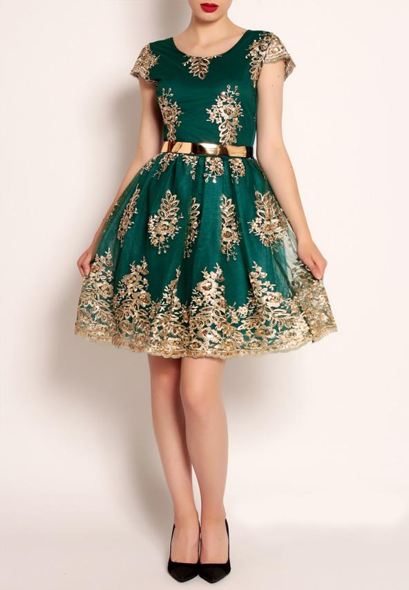 Rochie verde eleganta cu broderie aurie