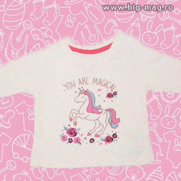 Bluzita alba cu unicorn pentru fetite