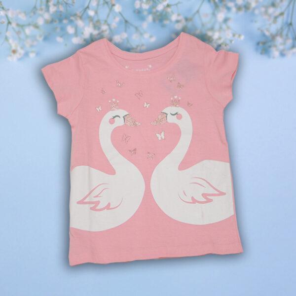 Bluzita roz Fetite cu Lebede