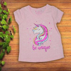 Tricou Fetite cu Unicorn Roz