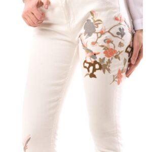Jeans Albi Dama cu Imprimeu Floral
