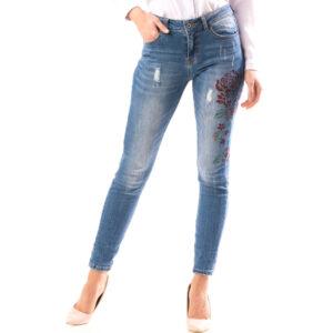 Jeans Dama Bleumarin cu Imprimeu