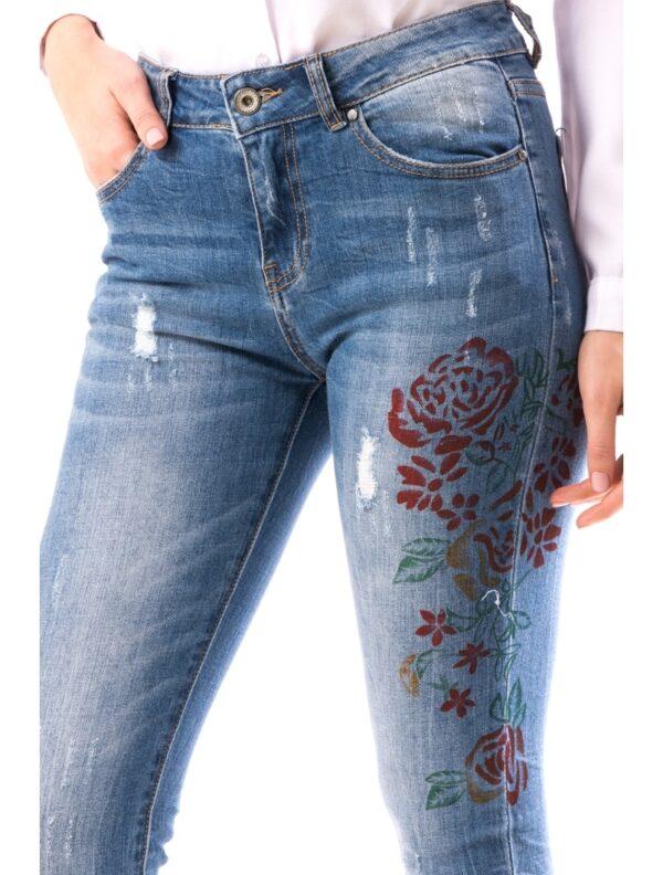 Jeans Dama Bleumarin cu Imprimeu culoare bleumarin, talie medie, model cu un trandafir