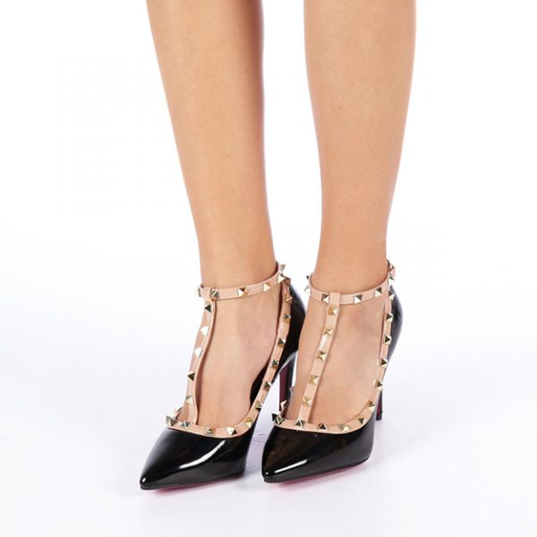 Pantofi stileto negri cu toc si barete cu tinte