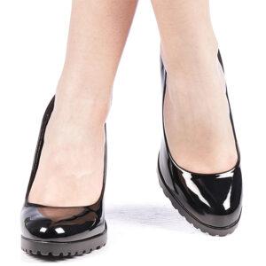 Pantofi negri dama cu toc gros