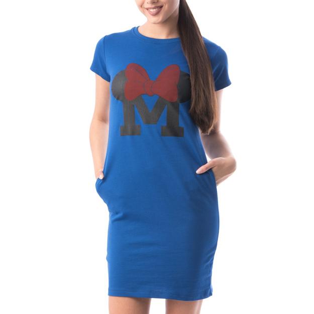 Rochie albastra din bumbac cu maneca scurta