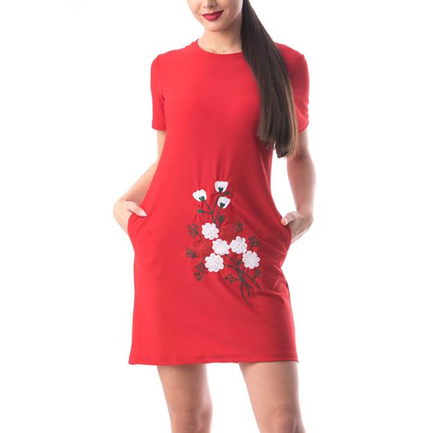 Rochie de vara rosie cu decolteu rotund