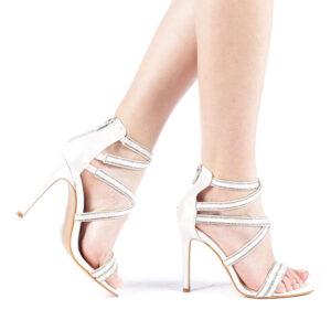 Sandale arginti cu toc subtire