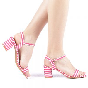 Sandale dama toc de 7 cm fuchsia