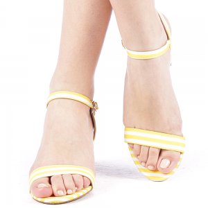 Sandale dama toc de 7 cm galben