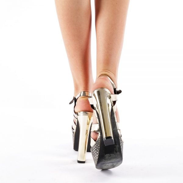 Sandale femei cu platforma aurii
