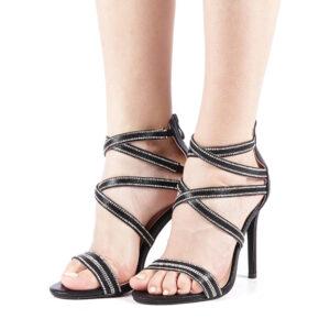 Sandale negre cu toc subtire