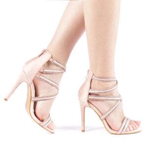 Sandale roz cu toc subtire