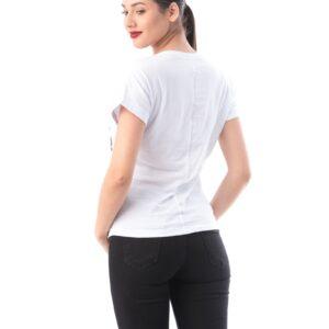 Tricou alb dama din bumbac