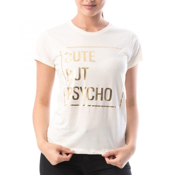 Tricou alb din bumbac CUTE BUT PSYCHO