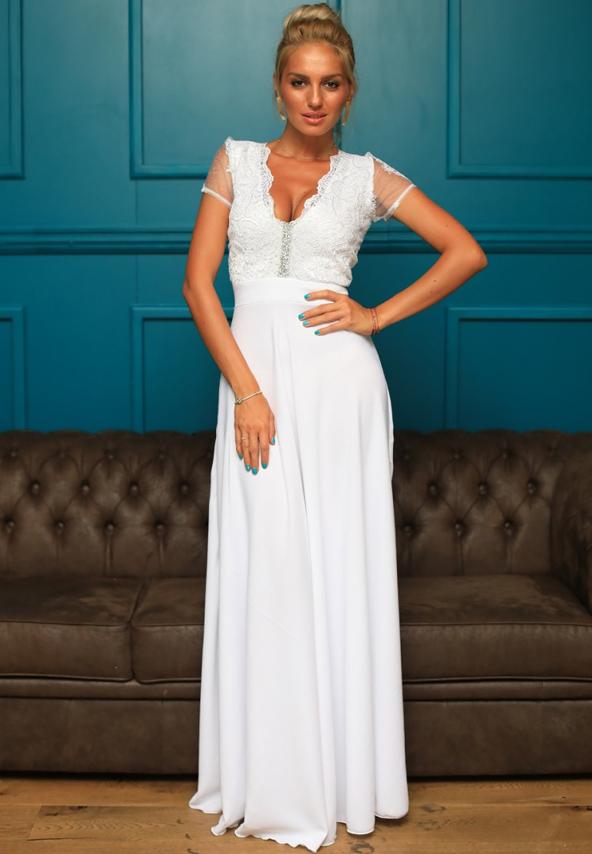 rochie alba ocazii nunta botez bal banchet