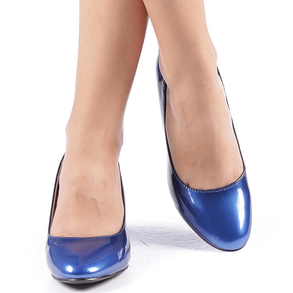 pantofi autentici comandă online fara taxa de vanzare Pantofi dama albastri cu toc de 5 cm cod55 - Magazin BIG Mag