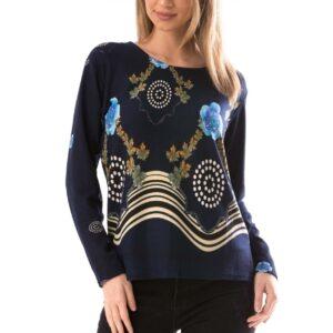 Bluza dama Bleumarin motive florale